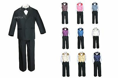 Baby Boy Kid Teen Formal Wedding 7pc Black Suit Tuxedo + 9 Color Vest Tie S-20
