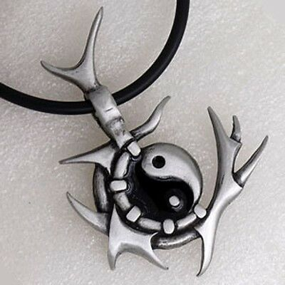 Gothic Spiky Yin Yang Tao Taoism Tribal Maori Punk Barbed Wire Pewter Pendant