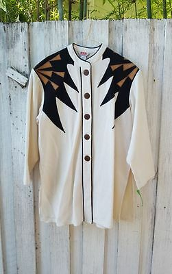 Women's Vtg w Tags Red Collection Cream Western Navajo Long Jacket Sz M