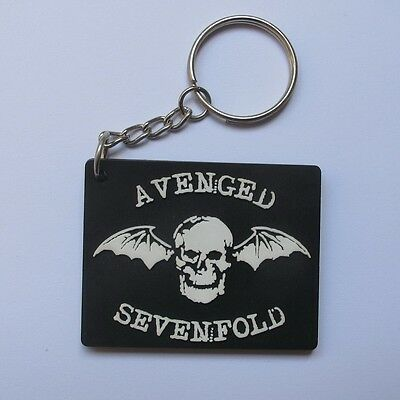 Avenged Sevenfold Keychain Rubber Rock Music Biker Motocycle Atv White&black