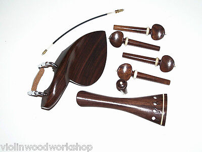 4/4 ViolinWendling Chin Rest Tail Piece End Pin Pegs Gut Rosewood  White trim