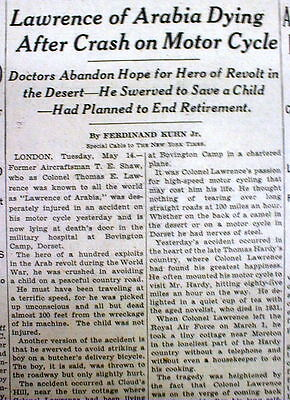 1935 NY Times newspaper LAWRENCE of ARABIA Motorcycle Accident DEAD 6 days later