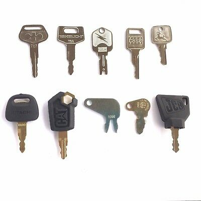 10pc Heavy Equipment Key Set Case CAT JD Komatsu Hitachi Takeuchi with OEM Logos