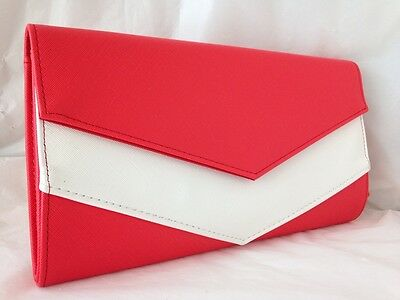 New Red & White Faux Leather Evening Day Clutch Bag Two Tone Wedding Prom Party