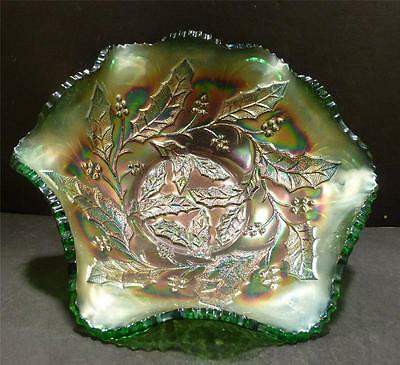 Carnival Millersburg Holly Whirl Bowl With Near Cut Wreath Green Exterior- MINT