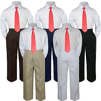 3pc Red Ruby Punch Tie  Suit Shirt Pants Set Baby Boy Toddler Kid Uniform S-7