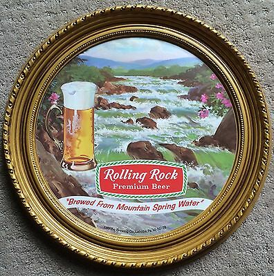 (1) Vintage Rolling Rock Premium Beer Old Round Sign Advertise Wall Art