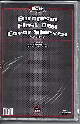 """100 New BCW 2-mil European First Day Cover Poly Sleeves 5-1/8"""" x 7-13/16"""""""