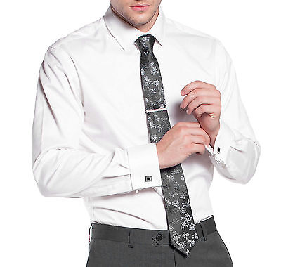 New Varce Men's French Cuff Slim Fit Business Formal Dress Shirt With Cuff Links