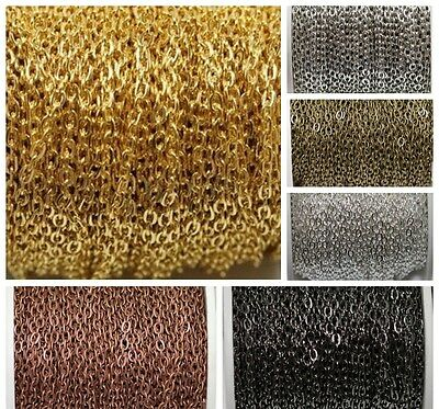 5m  6Colors Silver Golden Plated Cable Open Link Iron Metal Chain Findings