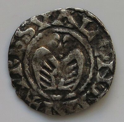 MEDIEVAL SILVER DENAR  FIGURE / CROSS 17MM 0,87G    #iu 389