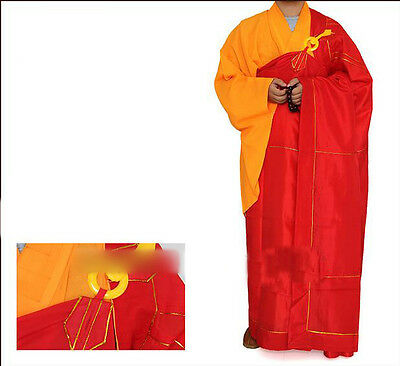 7490 Red Zen Buddhist Monk Manyi Kesa robes Lay Masters Cassock Meditation Gown