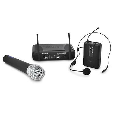 Skytec Wireless Cordless Microphone Headset Set Dj Pa Stage System * Free P&p Uk