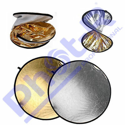 "Phot-R 56cm/22"" 2in1 Gold & Silver Studio Collapsible Circular Reflectors + Case"