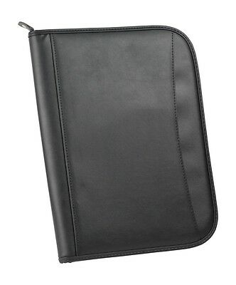 BUSINESS ZIPPERED FOLDER PADFOLIO BINDER ORGANIZER W NOTEPAD LEATHERETTE, Black