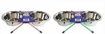 Dog Bowl 2Qt Double Diner Stainless Steel Food Feeding Pets Stand In/outdoor New