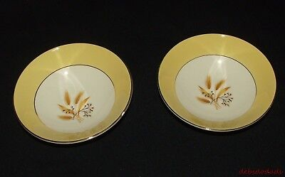 2 Vintage Century Sales Corp Semi Vitreous Autumn Gold Wheat Pattern Berry Bowls