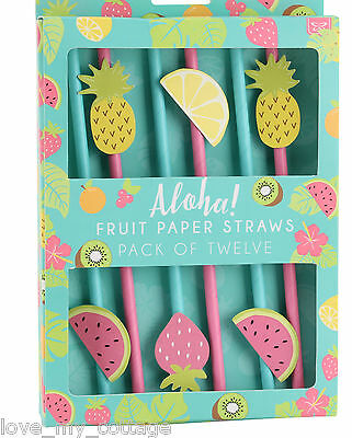 Pack 12 Paper Straws Fruit Pineapple Tropical Summer Party Cocktails Drinks BBQ