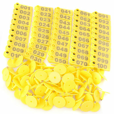 1-100 Number Livestock Ear Tag Label Marker Yellow Plate for Cow Pig Goat 100pcs