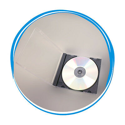 100 Pack Jewel CD Case, 10.4mm Single CD Case with Black Tray