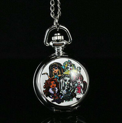 Monster High Women Ladies Child Gril Pocket Watch Necklace Gift Xmas GXLB