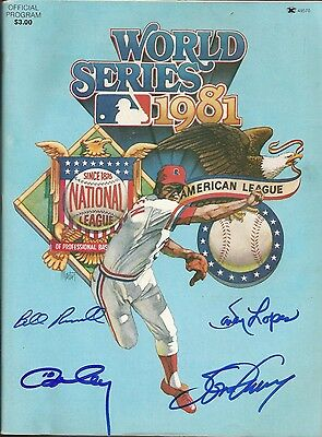 Cey Steve Garvey Davey Lopes Bill Russell Signed 1981 World Series Program JSA