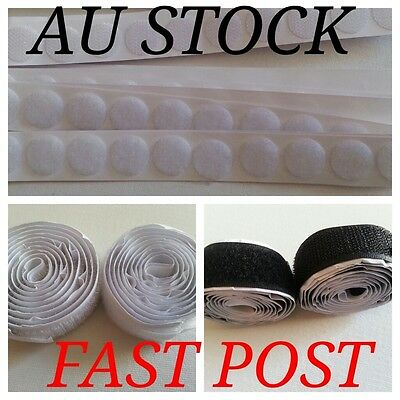 HOOK LOOP Fastener Sticky Dots Strip Tape Self Adhesive Backing 20mm Durable