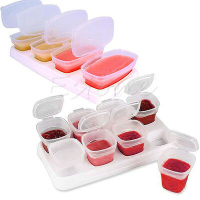8Pcs Baby Weaning Food Freezing Cubes Tray Pots Freezer Storage Cups Containers