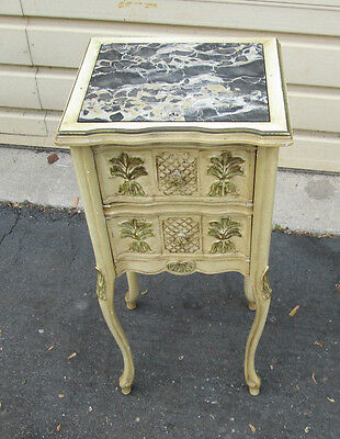 53873 Vintage French Marble Top Nightstand