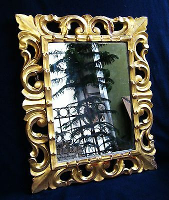 BEAUTIFUL ANTIQUE HAND CARVED GILT WOOD MIRROR -  19th