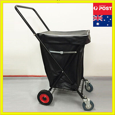 4 Wheels Collapsible Shopping Trolley Large Steel Basket Folding Cart Waterproof