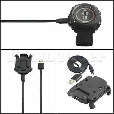 USB Charging Dock Data Sync Cable Charger + Band For Garmin Fenix 3 HR GPS Watch