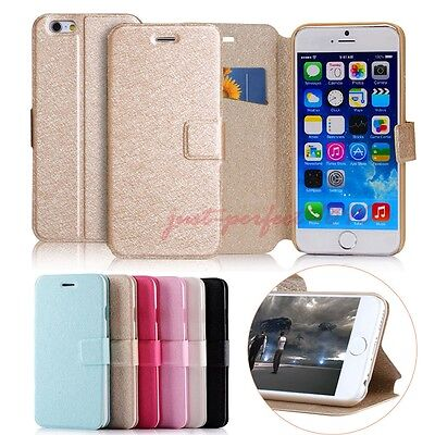 Slim Flip Leather Card Wallet Stand Case Cover For iPhone 5S 6 6S Plus & Samsung