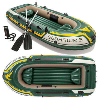 INTEX Seahawk 3 Set Schlauchboot + Paddel + Pumpe Angelboot Ruderboot 3 Personen