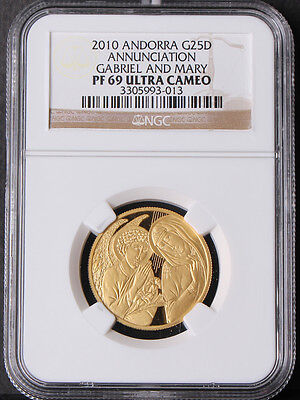 Andorra 2010 Annunciation Gabriel and Mary Gold Coin NGC PF69