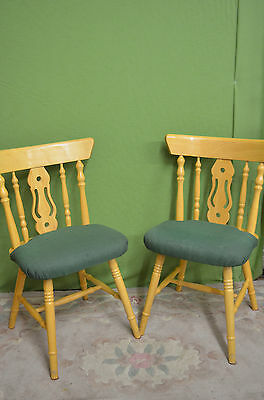Pair Two Vintage Dining Kitchen Chairs Green Padded Seat Wheel Back - Heavy Pine