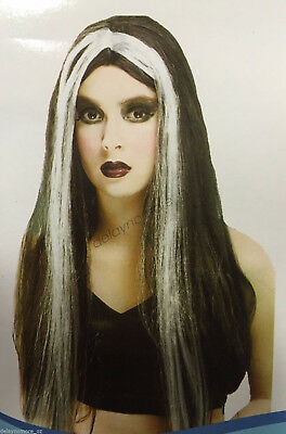 Halloween Spooky Party Costume 1 x Witch Wig Long Black & White Gothic Womens