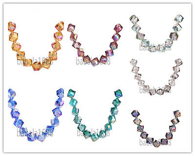 10mm Faceted Glass Crystal Across Corners Hole Cube Square Bead Necklace Finding
