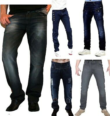 Mens Denim Jeans Regular Fit Faded Designer Stylish Trousers Pants Collection