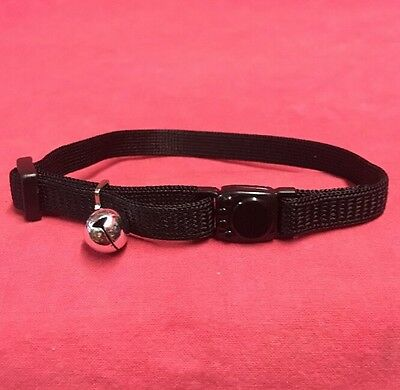 Cat kitten Collar BLACK Safety Collar Quick Release Soft Fabric & Bell