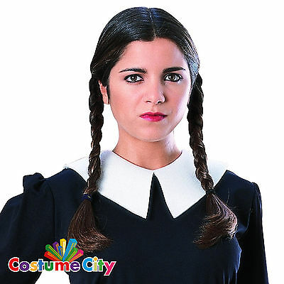 Adult Women's Official Wednesday Braided Wig Addams Family Fancy Dress Accessory