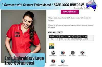 3  x  Custom Sports Polo wirh Your Embroidered * FREE LOGO UNIFORMS POLO SHIRTS