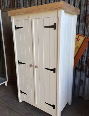 Solid Pine Handmade Rustic Shabby Chic Double Wardrobe Cupboard Great Storage