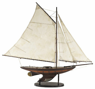 """Antiqued Yacht Ironsides Small Wooden Model 39"""" Fully Assembled Sailboat New"""