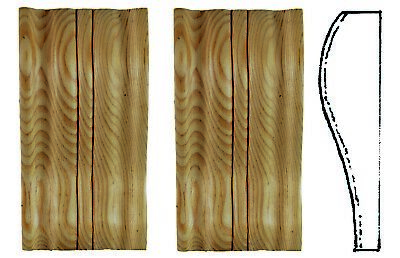Plain Reeded Corbels (Pair) PN332  Hand carved in solid PINE WOOD