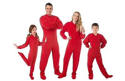Big Feet Pjs - Red Fleece Footed Pajamas - Adult, Kids & Infant Onesie