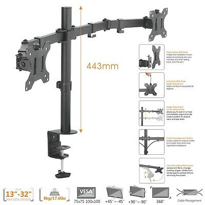 "Dual LCD LED Monitor Desk Mount Stand Fully Adjustable upto 27""  (80-066)"