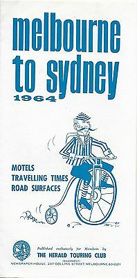 1964 Herald Touring Club Road Map MELBOURNE TO SYDNEY Australia Motels Mileages