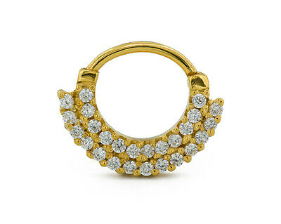 16g Septum Clicker - Two-tier Jeweled 14kt Yellow Gold Plated Ring