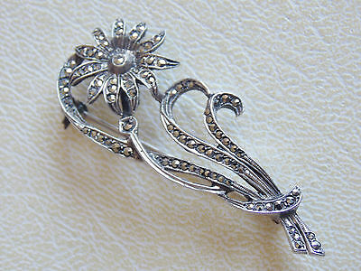 Beautiful & Charming Continental 830 Silver & Marcasite Flower Brooch